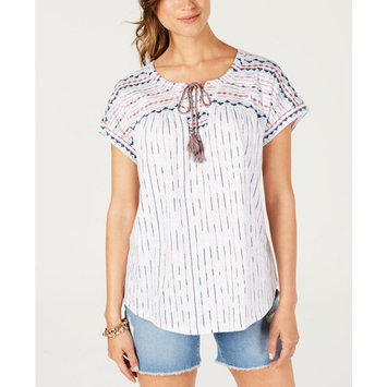 Petite Printed Lace-Up Top, Created for Macy's