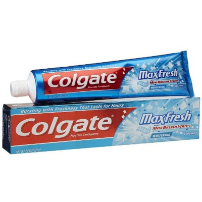 Colgate Max Fresh Gel Toothpaste, Fluoride, Cool Mint, with Mini Breath Strips, 7.8 Ounces (Pack of 4)