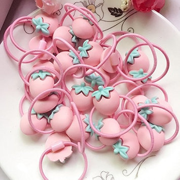 24Pieces Cute Cartoon Baby Girls Kids Children Little Princess Ball Hair Tie Bands Ropes Ponytail Holder Elastics, Pink Color,Strawberry Shape