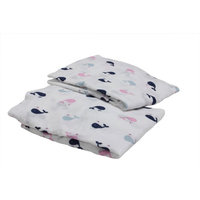 Bacati Little Sailor Whales Crib Sheet Color: Blue / Red