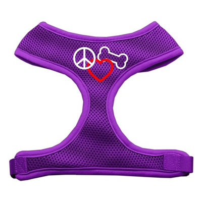 Mirage Pet Products 7017 LGPR Peace#44; Love#44; Bone Design Soft Mesh Harnesses Purple Large