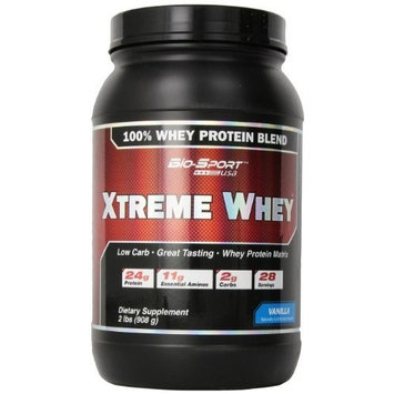 Bio-Sport USA Xtreme Whey, Great Tasting Low Carb 100% Whey Protein Matrix, Vanilla, 2 Pound [Vanilla]