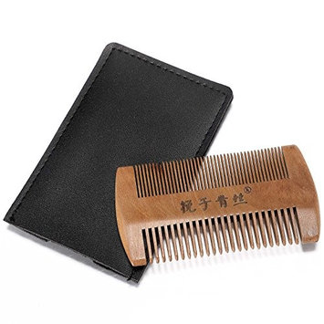 Neverland Beauty Double Sided Beard & Mustache Styling Comb, Peach Wooden Comb with Leather Case