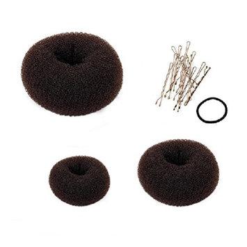 Pixnor 3pcs Bundle Chignon Hair Donuts Ring Style Bun Maker Large Medium Small Brown