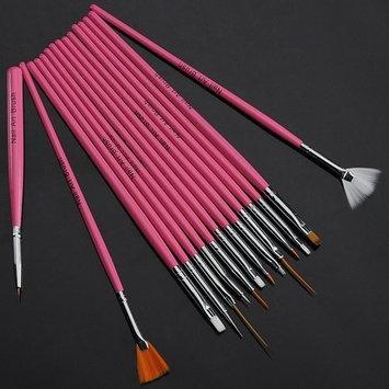 15pc Pink Nail Art Design Dotting Brush Painting Drawing Pen Tool Set Stick DIY Fit Tips AOSTEK(TM)