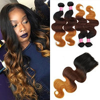 Mink Hair 3 Tone Ombre Bundles with Closure (18 20 22 24+16) Unprocessed 8A Brazilian Ombre Body Wave Human Hair Extensions with 4x4 Free Part Closure 1B-4-27 Color