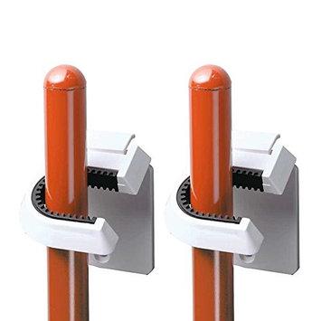 InterDesign Broom/Mop Holder, White, Set of 2 [Set of 2]