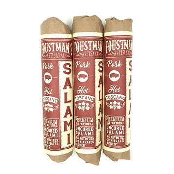 Foustman's Artisanal Salami, Nitrate-Free, Naturally Cured, (Pack of 3) (Hot Toscano)