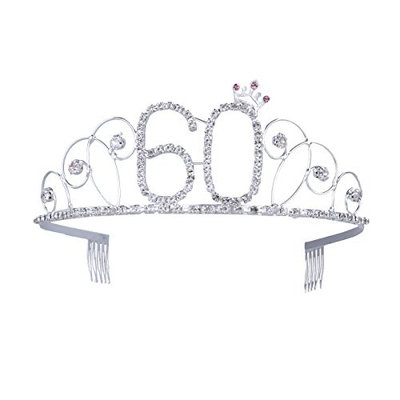 Frcolor 60th Birthday Tiara Crystal Rhinestone Women 60th Birthday Crown with Combs