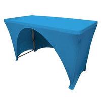LA Linen TCSpandex-OB48x30x30-TurquoiseX52 Rectangular Open Back Spandex Tablecloth, Turquoise - 48 x 30 x 30 in.