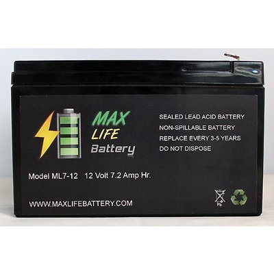Max Life Battery - ML7-12 - 12V 7.2AH Battery Fits Aqua Vu Marcum Vexilar - ML7-12ALT44