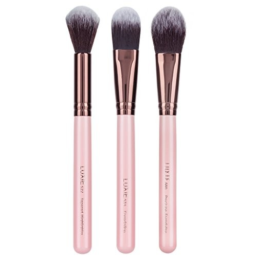 Luxie Beauty 3 Piece Flawless Complexion Brushes Rose Gold 3 Piece Face Set