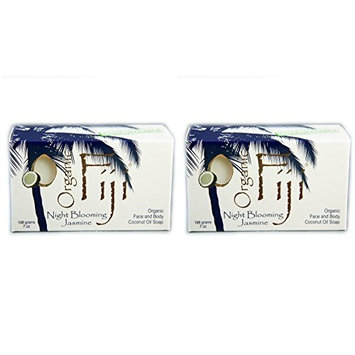 Organic Fiji Organic Bar Soap Night Blooming Jasmine (Pack of 2) With Traditional Saponified Raw Cold Pressed Organic Coconut Oil and Night Blooming Jasmine Essential Oil, 7 oz. each