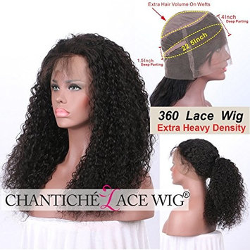 Chantiche Soft Curly 360 Lace Frontal Wig with Baby Hair and High Ponytail Brazilian Virgin Human Hair Customized 360 Lace Full Wigs with 150% Heavy Density for Women 12inches Natural Color