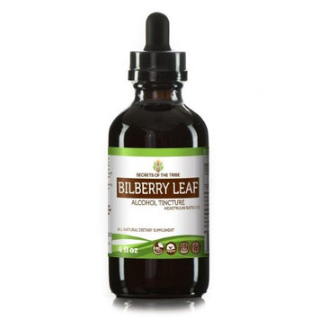 Secrets Of The Tribe Bilberry leaf Tincture Alcohol Extract, Organic Bilberry (Vaccinium Myrtillus) Dried Leaf 4 oz