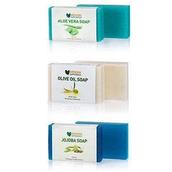 Moisturizing Soap Bar Trio (Aloe Vera/Olive Oil/Jojoba) Natural Glycerin Soap 3.5 Ounces ea. (Pack of 3)