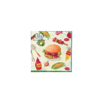 Ideal Home Range 20-Count 3-Ply Paper Cocktail Napkins, Burger Party