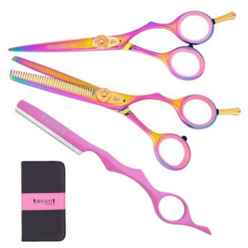 Washi Beauty Golden Rainbow Hair Cutting Shear Set 5.5 in. Shear, 35 Tooth Texturizer, Pink Styling Razor & Case Included