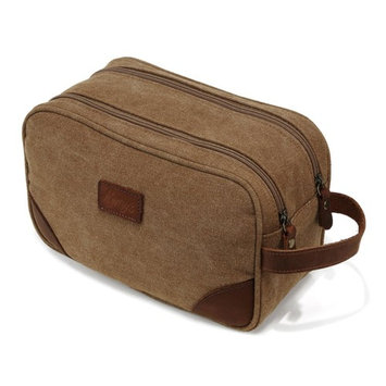 Mens Canvas Toiletry Bag Travel Bathroom Shaving Dopp Kit with Double Compartments