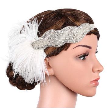 BABEYOND 1920s Flapper Headband Great Gatsby Headpiece 20s White Feather Headband 1920s Flapper Gatsby Accessories