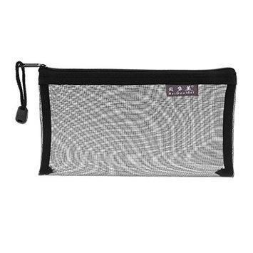 MagiDeal Transparent Mesh Organiser Bag Portable Travel Storage Pen Pouch - Black