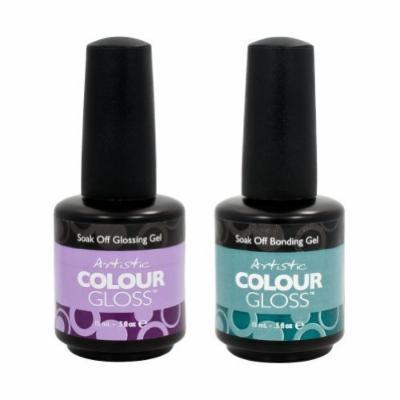 Artistic Nail Design 2 Piece Salon Manicure Bundle Bonding Gel & Gloss Coat .5oz