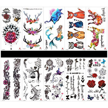GGSELL GGSELL 10pcs tattoo rose temporary tattoos in one packages,including roses,flowers,mermaid,cat,fox,leopard,feather,phoenix,birdcage,butterflies,crown,heart,etc.