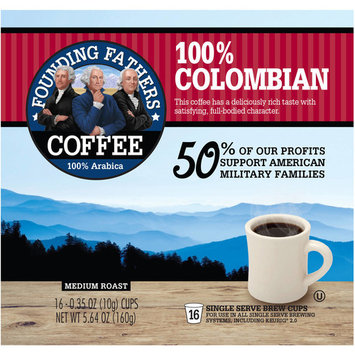 Founding Fathers Medium Roast Colombian 100% Arabica Coffee, 0.35 oz, 16 count
