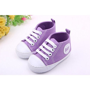 YICHUN Baby Soft Shoes Prewalker Canvas Crib Shoes Sneaker Toddler Sole Shoes (Outer Sole Length [Purple, Outer Sole Length :11cm]