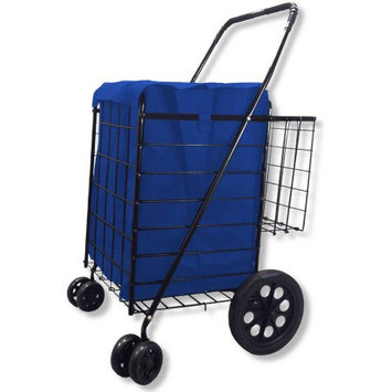 Lavohome Double Basket Black Folding Utility Cart Folds Up Rolling Storage Shopping Carrier from SCF (BLACK) with BLUE BONUS LINER