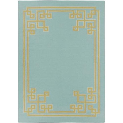 8' x 11' Resplendent Powder Blue and Lime Hand Woven Wool Area Throw Rug
