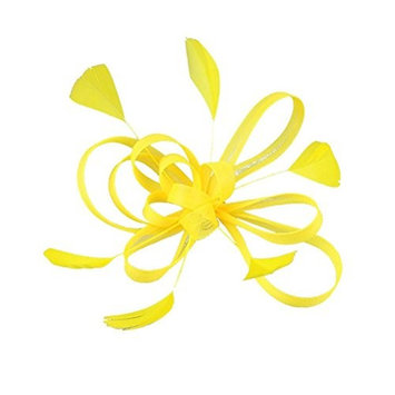 Frcolor Feather Hair Clip Fascinator Wedding Bridal Hair Accessory (Yellow)