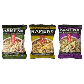 Koyo Vegan Organic Noodle Ramen 3 Flavor 9 Bag Variety Bundle: (3) Garlic Pepper, (3) Lemongrass Ginger, and (3) Mushroom, 2-2.1 Oz Ea (9 Tot)