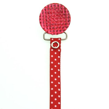 No Red Polka Dot Ribbon Quilted Crystal Pacifier Clip
