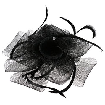 MagiDeal Bridal Fascinator Hairclip Wedding Headpiece Veil Feather Hairpin Multi-color - Black