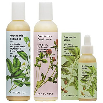 Syntonics Grothentic Scalp and Hair Care System for Thinning Hair 3-Steps Set (Shampoo, Conditioner & Serum)