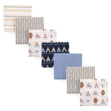 Luvable Friends 7-Pack Tribe Flannel Receiving Blankets in Blue