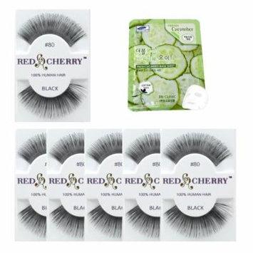 Red Cherry #80 Black Eyelashes 12 Pairs & Free Mask Pack