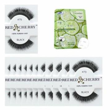 Red Cherry #79 Black Eyelashes 12 Pairs & Free Mask Pack