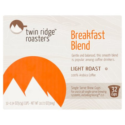 Trilliant Food & Nutrition, Llc Twin Ridge Roasters Light Roast Breakfast Blend Coffee Single Serve Brew Cups, 0.34 oz, 32 count