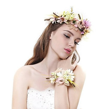 AWAYTR Flower Wreath Headband Floral Crown Garland Halo with Floral Wrist Band for Wedding Festivals (Mixed Yellow&Champagne) by AWAYTR