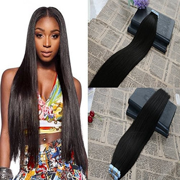 24 inch Tape in Brazilian Human Hair Extensions #1B Off Black 100% Remy Human Hair Seamless Skin Weft PU Hair Extensions Thick End Tape Human Hair Extensions