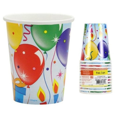 Hanna K Signature 2184922 9 oz Paper Cups Birthday Balloons Design - Pack of 36 & 12 per Pack