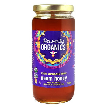 Heavenly Organics 100% Organic Raw Neem Honey (22 Oz) Lightly Filtered to Preserve Vitamins, Minerals and Enzymes; Made from Wild Beehives & Free Range Bees; Dairy, Nut, Gluten Free, Kosher
