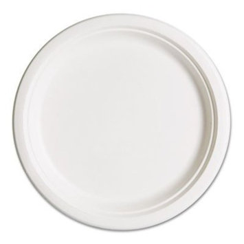 Eco-Products Renewable and Compostable Sugarcane Dinner Plates, 10 Inch