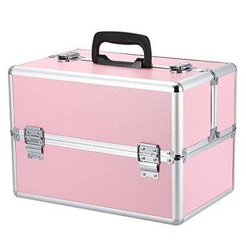 Docooler Lockable Cosmetic Organizer Box Foldable Makeup Train Storage Case Holder 2 Layers
