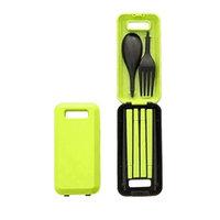 DZT1968 Creative Green Travel Folding Chopsticks Spoon Fork Three-Piece Combination