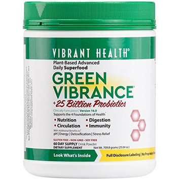 Vibrant Health - Green Vibrance - Plant-Based Daily Superfood Probiotics and Digestive Enzymes, 60