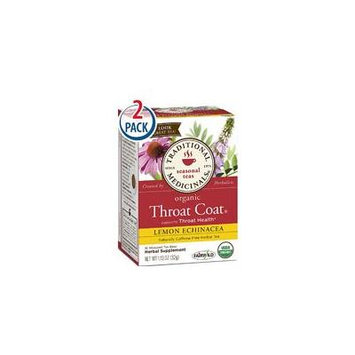 Traditional Medicinals Throat Coat Herbal Tea Organic Lemon Echinacea -- 16 Tea Bags Each / Pack of 2