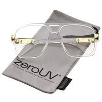 zeroUV - Classic Flat Top Metal Accented Temples Clear Lens Square Aviator Glasses 56mm - 56mm
